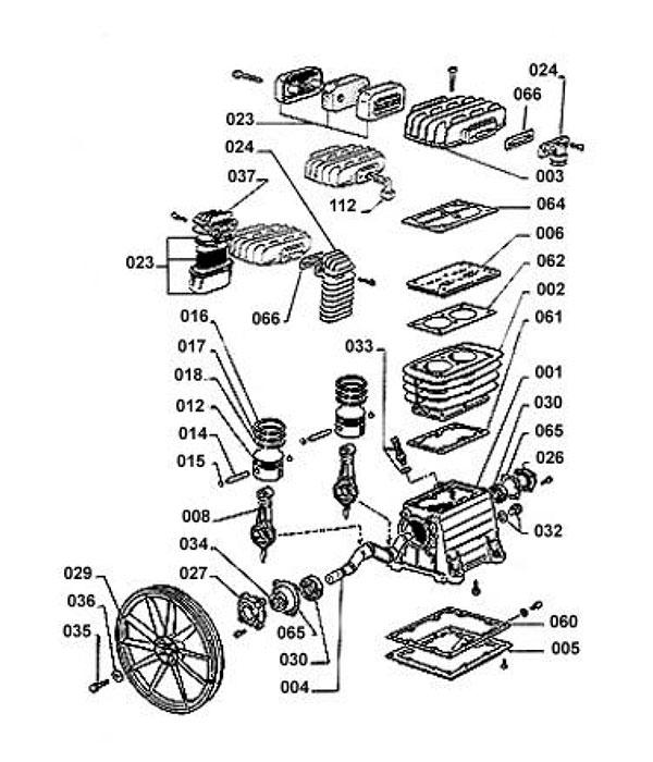 Деталировка компрессорной головки ABAC B2800 (2800000/280000B)