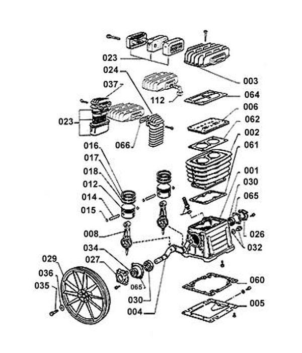 Деталировка компрессорной головки ABAC B3800 (3600000/360000B)