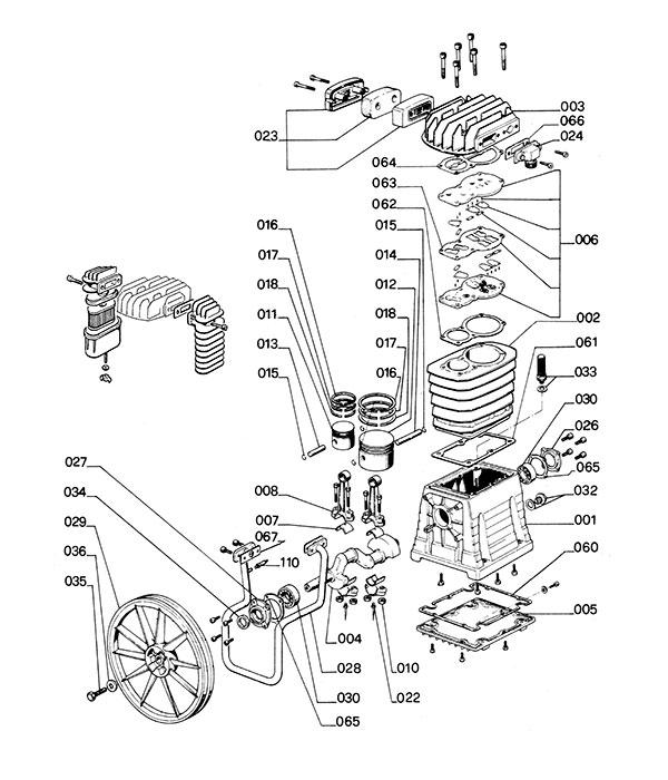 Деталировка компрессорной головки ABAC B4900 (4900000/490000A)