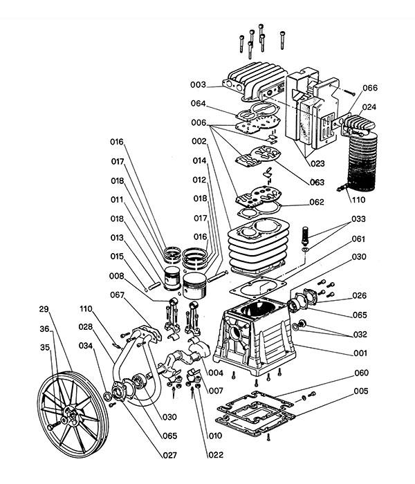 Деталировка компрессорной головки ABAC B5900 (5300000/530000A)