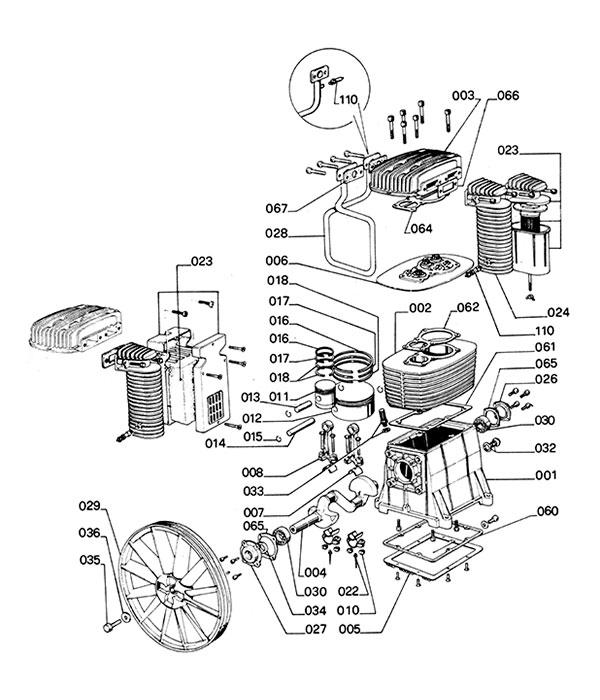 Деталировка компрессорной головки ABAC B6000 (600000/60000A)