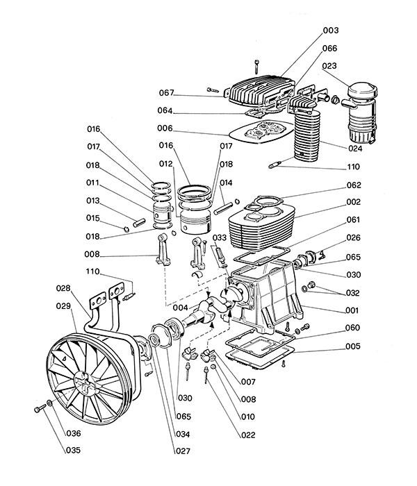 Деталировка компрессорной головки ABAC B7000 (7000000)