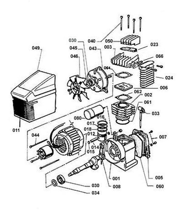 Деталировка компрессорной головки ABAC F1/310 (76A0000)