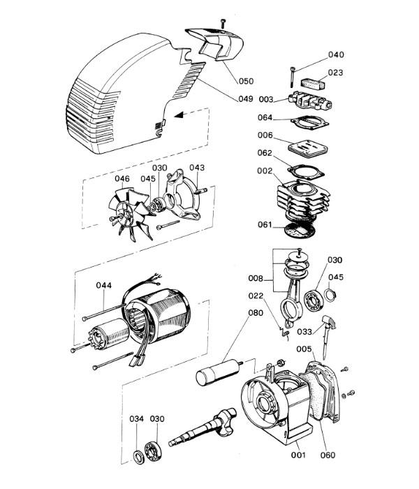Деталировка компрессорной головки ABAC OM/221 (6Y00000)